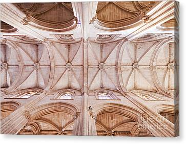 Gothic Ceiling Of The Batalha Monastery Church Canvas Print by Jose Elias - Sofia Pereira