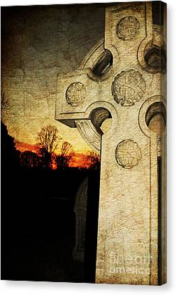 Headstones Canvas Print - Gothic Cross by Paul Ward