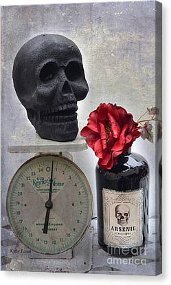 Gothic Fantasy Spooky Halloween Black Skull And Arsenic Bottle With Rose Canvas Print by Kathy Fornal