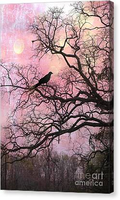 Gothic Fantasy Surreal Nature - Haunting Pink Trees Limbs With Haunting Spooky Raven Canvas Print