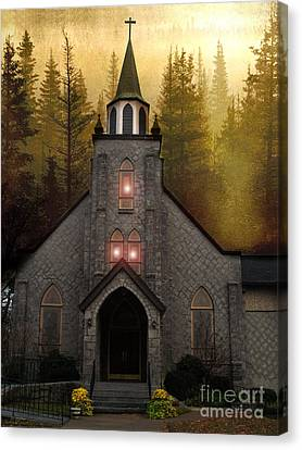 Gothic Old Church Autumn Forest Woodlands Canvas Print by Kathy Fornal