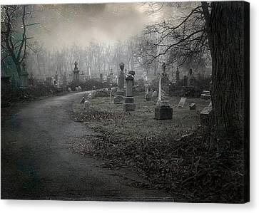 Spooky Graveyard Gothic Path Canvas Print