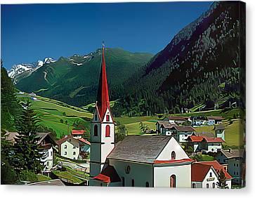 Gothic Spikes In An Austrian Village Canvas Print by Wernher Krutein