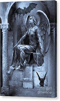 Gothic Surreal Cemetery Angel With Gargoyle And Bats Canvas Print by Kathy Fornal