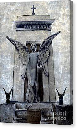 Gothic Surreal Angel With Gargoyles - Fantasy Angel Gargoyle Cemetery Grave Art Canvas Print by Kathy Fornal