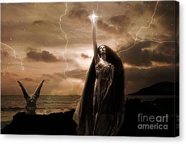 Gothic Surreal Fantasy Dark Haunting Female Figure In Black Cape With Gargoyle Canvas Print