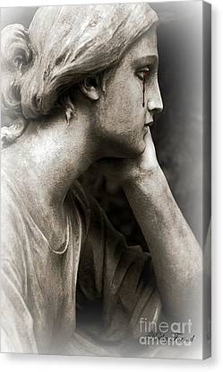 Gothic Surreal Cemetery Mourner Female Face - Mourning Female Statue Crying Tears - Sad Angel Art Canvas Print by Kathy Fornal