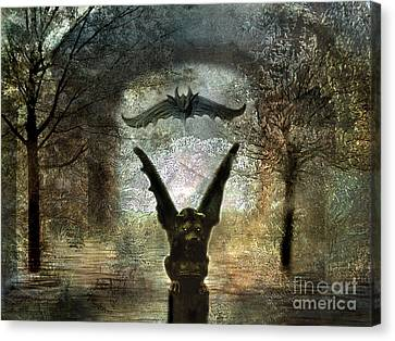 Gothic Surreal Fantasy Spooky Gargoyles  Canvas Print by Kathy Fornal