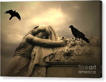 Gothic Surreal Haunting Female Cemetery Draped Over Coffin With Black Ravens Canvas Print by Kathy Fornal