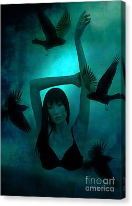 Gothic Surreal Ravens With Asian Girl  Canvas Print by Kathy Fornal