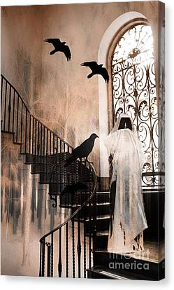 Gothic Grim Reaper With Ravens Crows - Spooky Haunting Surreal Gothic Art Canvas Print by Kathy Fornal