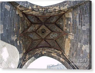 Gothic Tower From Bottom View Canvas Print by Michal Boubin