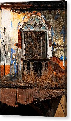 Abandoned House Canvas Print - Old Gothic Window And Roof Of Portuguese House. Goa. India by Jenny Rainbow