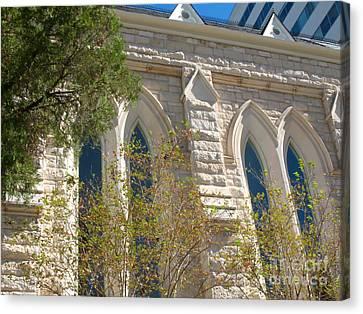 Gothic Windows - Austin Texas Church Canvas Print by Connie Fox