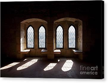 Gothic Windows Of The Royal Residence In The Leiria Castle Canvas Print by Jose Elias - Sofia Pereira