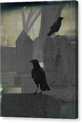 Gothic Winter Blackbirds Canvas Print by Gothicrow Images