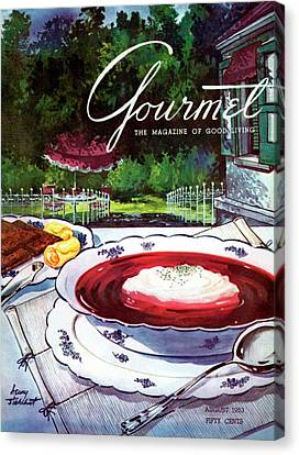 Sour Canvas Print - Gourmet Cover Featuring A Bowl Of Borsch by Henry Stahlhut