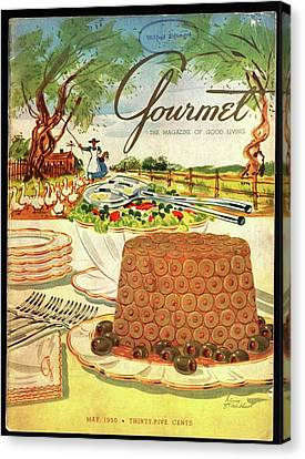 Ducklings Canvas Print - Gourmet Cover Featuring A Buffet Farm Scene by Henry Stahlhut