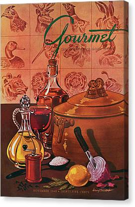 Gourmet Cover Featuring A Casserole Pot Canvas Print by Henry Stahlhut