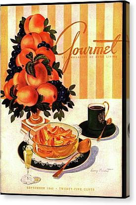 Gourmet Cover Featuring A Centerpiece Of Peaches Canvas Print by Henry Stahlhut