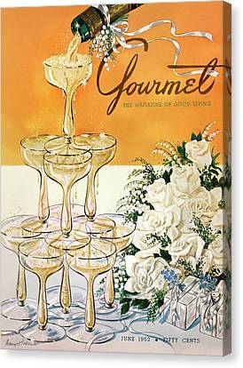 Gourmet Cover Featuring A Pyramid Of Champagne Canvas Print by Henry Stahlhut