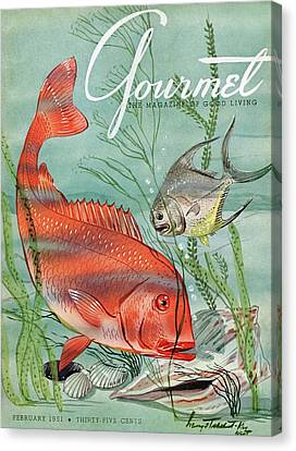 Magazine Canvas Print - Gourmet Cover Featuring A Snapper And Pompano by Henry Stahlhut