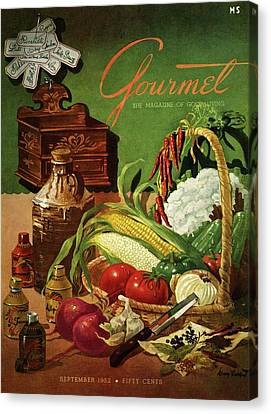 Gourmet Cover Featuring A Variety Of Vegetables Canvas Print by Henry Stahlhut