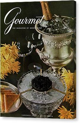 Wine-glass Canvas Print - Gourmet Cover Featuring A Wine Cooler by Arthur Palmer