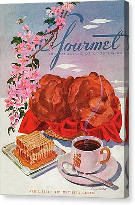 Gourmet Cover Illustration Of A Basket Of Popovers Canvas Print by Henry Stahlhut