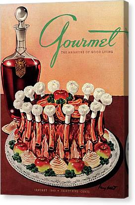 Gourmet Cover Illustration Of A Crown Roast Canvas Print by Henry Stahlhut