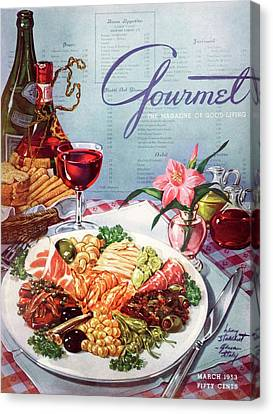 Gourmet Cover Illustration Of A Plate Of Antipasto Canvas Print by Henry Stahlhut