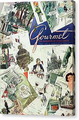 Gourmet Cover Illustration Of Drawings Portraying Canvas Print by Henry Stahlhut