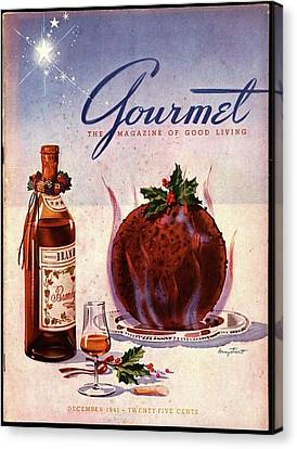 Gourmet Cover Illustration Of Flaming Chocolate Canvas Print by Henry Stahlhut