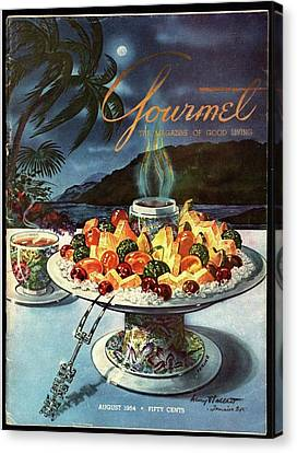 Gourmet Cover Illustration Of Fruit Dish Canvas Print
