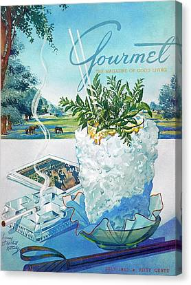 Gourmet Cover Illustration Of Mint Julep Packed Canvas Print by Henry Stahlhut