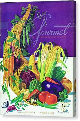 Gourmet Cover Of A Cornucopia Canvas Print by Henry Stahlhut