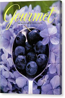 Gourmet Magazine Cover Blueberries On Silver Spoon Canvas Print by Jim Franco