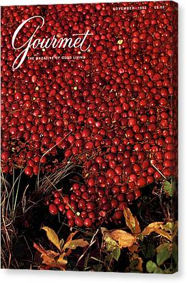 Gourmet Magazine Cover Featuring Cranberries Canvas Print by Lans Christensen
