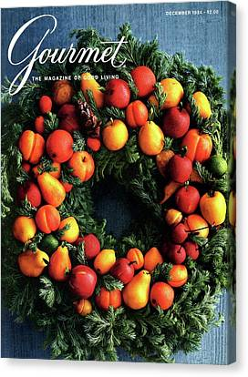 Gourmet Magazine Cover Featuring Marzipan Wreath Canvas Print by Romulo Yanes