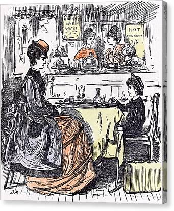 Governess And Boy At The Restaurant 1873 Suitcase Table Canvas Print