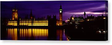 City Of Bridges Canvas Print - Government Building Lit Up At Night by Panoramic Images