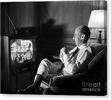 Canvas Print featuring the photograph Adlai Stevenson 1952 by Martin Konopacki Restoration
