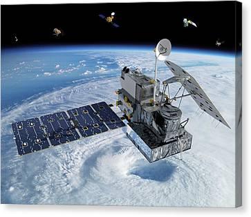Gpm Rainfall Satellite Canvas Print by Nasa/goddard/britt Griswold
