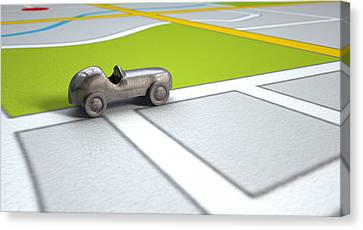 Gps Map With Metal Toy Car Canvas Print