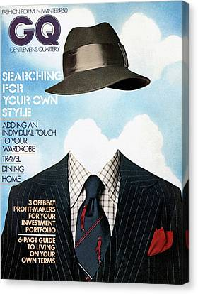 Gq Cover Featuring A Clothes On Top Canvas Print by  Victor Valla & Eric Meola