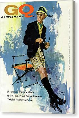 Gq Cover Featuring An Illustration Of A Man Canvas Print by Howard Terpning