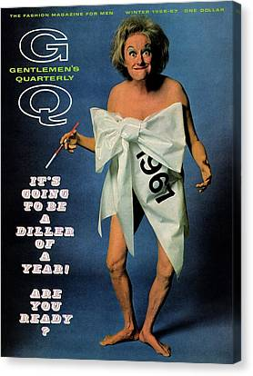 Semi-nude Canvas Print - Gq Cover Featuring Comedienne Phyllis Diller by Carl Fischer