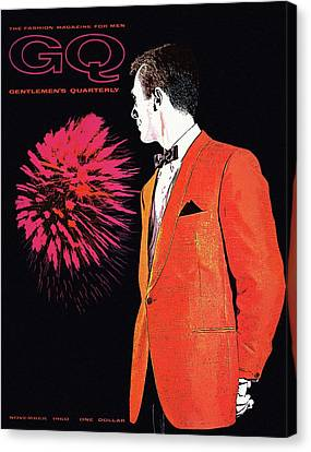 1960 Canvas Print - Gq Cover Of An Illustration Of A Man Wearing An by Leon Kuzmanoff