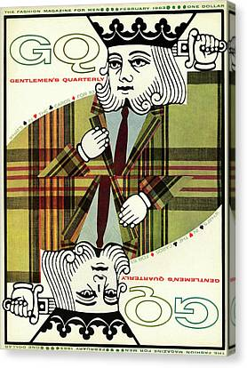 Tartan Canvas Print - Gq Cover Of An Illustration Of King Playing Card by Greenberg & Smith