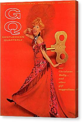 Gq Cover Of Carol Channing As A Windup 'hello Canvas Print by Chadwick Hall